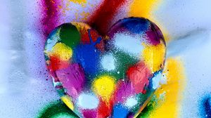 Preview wallpaper heart, love, colorful, paint