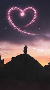 Preview wallpaper heart, love, silhouette, night