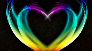 Preview wallpaper heart, rainbow, smoke, colorful