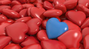 Preview wallpaper heart, red, blue, 3d