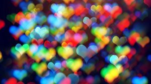 Preview wallpaper hearts, colorful, bokeh, abstraction