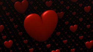 Preview wallpaper hearts, love, 3d, red