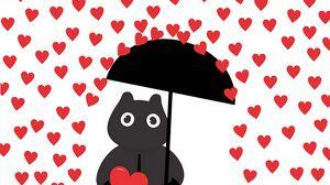 Preview wallpaper hearts, rain, art, silhouette, umbrella