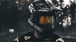 Preview wallpaper helmet, black, motorcyclist, biker