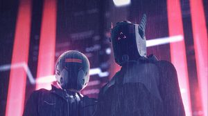 Preview wallpaper helmets, masks, cyberpunk, night, rain, lights