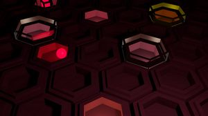 Preview wallpaper hexagons, bright, shadow, figure, form