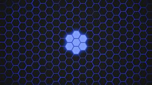 Preview wallpaper hexagons, patterns, texture, blue, dark