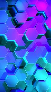 Preview wallpaper hexagons, rendering, light, shape