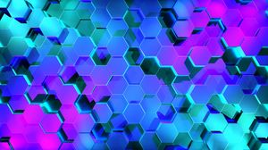 ... Preview wallpaper hexagons, rendering, light, shape