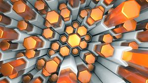 Preview wallpaper hexagons, structure, 3d, volume