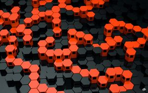 Preview wallpaper hexagons, structure, geometric, 3d, relief