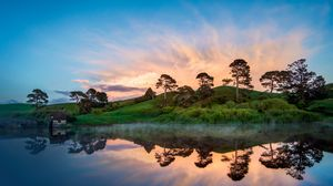 Preview wallpaper hill, lake, sunset, trees