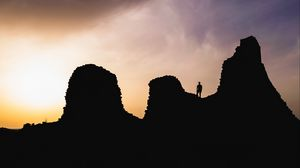 Preview wallpaper hills, silhouette, solitude, sunset, sardinia, italy