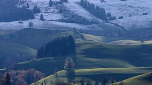 Preview wallpaper hills, trees, landscape, autumn, winter