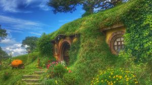 Preview wallpaper hobbiton movie set, forest house, fabulous, new zealand