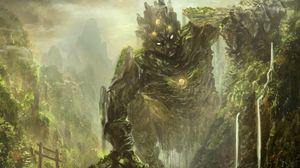Preview wallpaper hollow, trail, art, traveler, knight, rider, monster, creature
