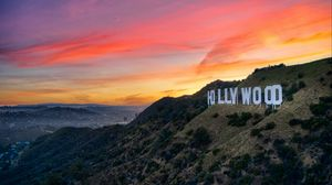 Preview wallpaper hollywood, word, inscription, rocks, sunset