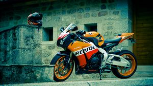 Preview wallpaper honda, cbr, fireblade, repsol, black