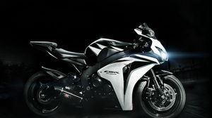 Preview wallpaper honda, cbr, fireblade, white, black, lights
