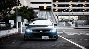 Preview wallpaper honda, civic, si, black, front view, city