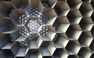 Preview wallpaper honeycomb, cell, structure, 3d, fractal