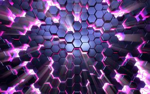 Preview wallpaper honeycomb, glow, volume