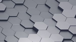 Preview wallpaper honeycomb, volume, gray, convex