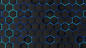 Preview wallpaper honeycomb, volume, iron