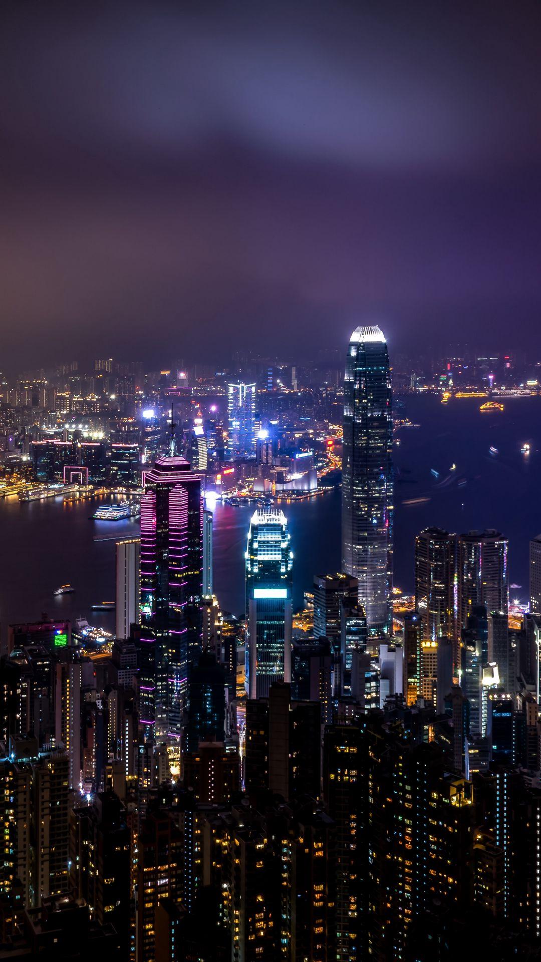 1080x1920 Wallpaper hong kong, china, skyscrapers, night city, city lights
