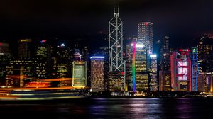 Preview wallpaper hong kong, skyscrapers, night, shore