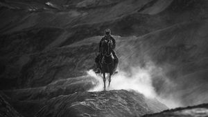 Preview wallpaper horseman, bw, horse, mountains, hills