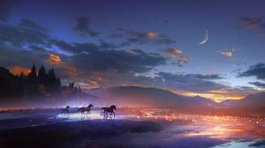Preview wallpaper horses, art, night, shine