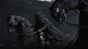 Preview wallpaper horses, horsemen black, night, cloak