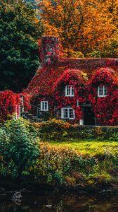 Preview wallpaper house, autumn, river, foliage, autumn colors