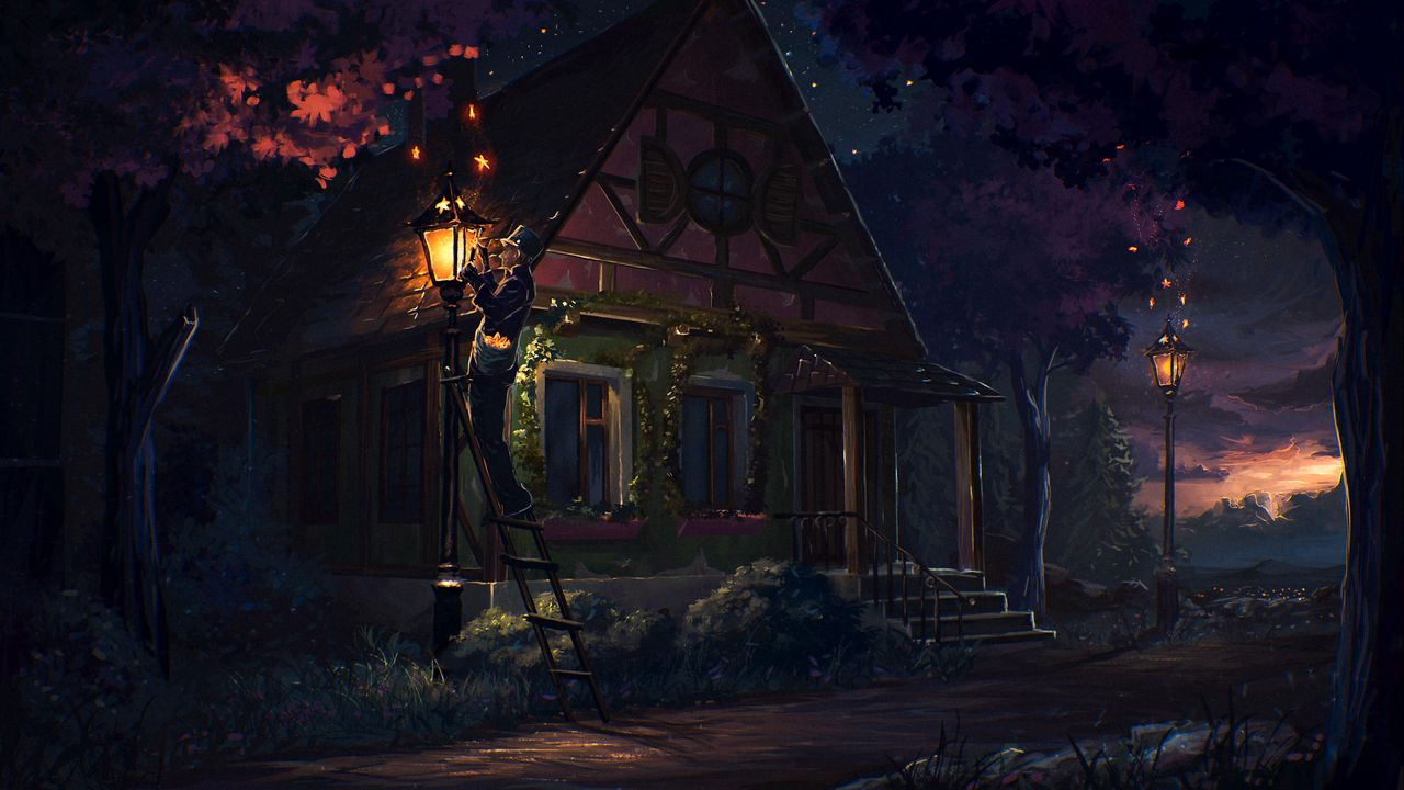 Wallpaper house, fairy tale, art, light, night