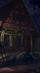 Preview wallpaper house, fairy tale, art, light, night