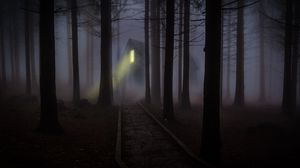 Preview wallpaper house, forest, fog, creepy, night