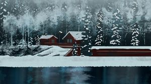 Preview wallpaper house, lake, forest, snow, winter, art