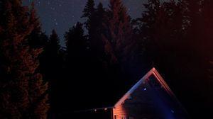 Preview wallpaper house, night, dark, trees, starry sky