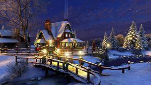 Preview wallpaper house, night, trees, snow, river, bridge