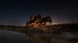 Preview wallpaper house, river, shore, night, dark