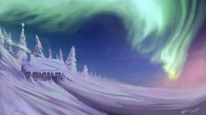 Preview wallpaper house, snow, trees, northern lights, winter, art