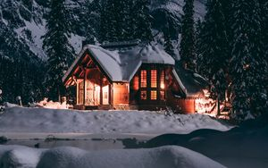 Preview wallpaper house, winter, snow, night, trees