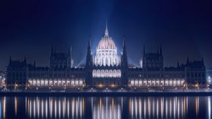 Preview wallpaper hungary, budapest, night, building, parliament, lights, promenade, river, danube, reflection