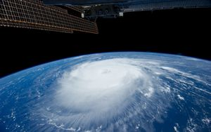 Preview wallpaper hurricane, iss, earth, clouds, element