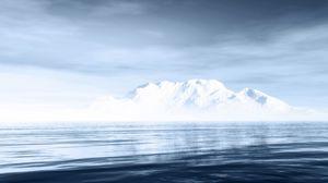 Preview wallpaper iceberg, sea, mountain, horizon