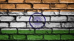 Preview wallpaper india, flag, texture, wall, brick, paint