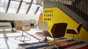 Preview wallpaper interior, yellow, office, furniture, design
