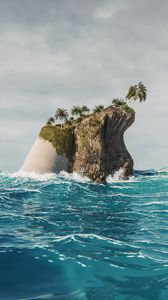 Preview wallpaper island, palm trees, sea, waves, 3d