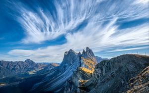 Preview wallpaper italy, mountains, cliffs, clouds, dolomites